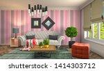 interior of the living room. 3d ... | Shutterstock . vector #1414303712