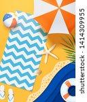paper art summer beach top view ... | Shutterstock .eps vector #1414309955