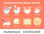 homemade pita bread recipe.... | Shutterstock .eps vector #1414311605