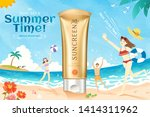 golden color sunscreen ads on... | Shutterstock .eps vector #1414311962
