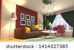 zero gravity sofa hovering in... | Shutterstock . vector #1414327385