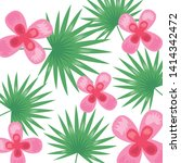 tropical flowers leaves foliage ... | Shutterstock .eps vector #1414342472