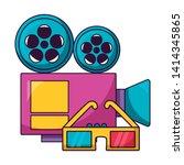 projector 3d glasses cinema...   Shutterstock .eps vector #1414345865