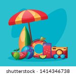 summer time holiday vacations... | Shutterstock .eps vector #1414346738