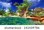 african baobabs and lush... | Shutterstock . vector #141439786