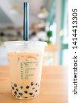 milk bubble tea with tapioca... | Shutterstock . vector #1414413305