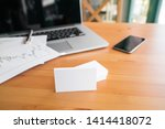 blank business cards and laptop ... | Shutterstock . vector #1414418072