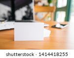 blank business cards and laptop ... | Shutterstock . vector #1414418255