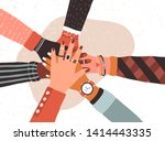 hands of diverse group of... | Shutterstock .eps vector #1414443335