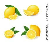 realistic lemon with green leaf ... | Shutterstock .eps vector #1414443758
