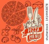 pizza illustration for... | Shutterstock .eps vector #1414443878