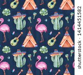 seamless pattern with mexican... | Shutterstock . vector #1414451582
