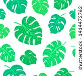 bright summer tropical leaves... | Shutterstock .eps vector #1414472762