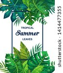 trendy summer tropical leaves... | Shutterstock .eps vector #1414477355