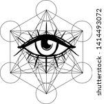 blackwork tattoo flash. eye of... | Shutterstock .eps vector #1414493072