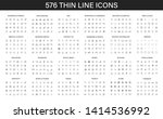 big collection of 576 thin line ... | Shutterstock .eps vector #1414536992