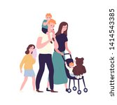 happy family walking together.... | Shutterstock .eps vector #1414543385