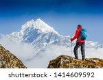 hiking in himalaya mountains.... | Shutterstock . vector #1414609592