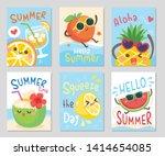 funny fruits hello summer.... | Shutterstock .eps vector #1414654085
