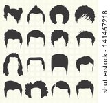 vector set  retro men's hair... | Shutterstock .eps vector #141467218