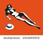 beautiful woman tanning  with... | Shutterstock .eps vector #1414693925