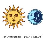 sun and moon characters with... | Shutterstock .eps vector #1414743605