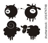 Stock vector farm animals vector illustration 141474748