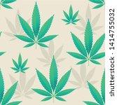 hemp leaves seamless repetitive ... | Shutterstock .eps vector #1414755032