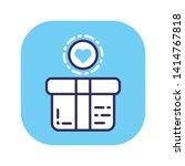 donation box flat color icon....