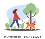 Stock vector dog walker girl walking with a dog flat illustration 1414811225