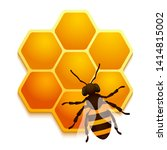 realistic honeycomb with bee on ... | Shutterstock .eps vector #1414815002