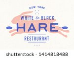 Stock photo hare rabbit vintage logo retro print poster for butchery meat shop with text hare typography 1414818488