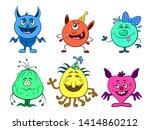 set of cute different cartoon...   Shutterstock .eps vector #1414860212