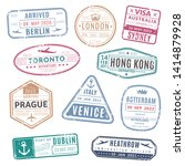 travel stamp. vintage passport... | Shutterstock .eps vector #1414879928