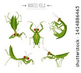 mantis yoga poses and exercises.... | Shutterstock .eps vector #1414886465