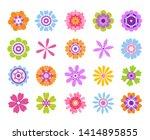 cartoon flower icons. summer...   Shutterstock .eps vector #1414895855