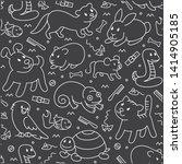 pet shop  seamless cut doodle...   Shutterstock .eps vector #1414905185