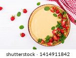 tart with strawberries and... | Shutterstock . vector #1414911842