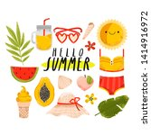 big set of colorful summer... | Shutterstock .eps vector #1414916972
