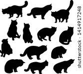 vector set of black silhouettes ... | Shutterstock .eps vector #1414917248