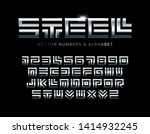 steel letters and numbers set.... | Shutterstock .eps vector #1414932245