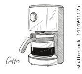 sketch of coffee maker isolated ... | Shutterstock .eps vector #1414941125