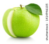 green apple with leaf and slice ... | Shutterstock . vector #1414946105