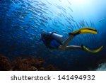 Scuba Diver Finning Towards...