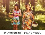 happy young fashion girls with... | Shutterstock . vector #1414974092