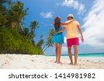 happy young couple having fun... | Shutterstock . vector #1414981982