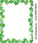 green leaves border isolated on ... | Shutterstock .eps vector #1414987895