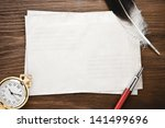 watch and ink pen at envelope... | Shutterstock . vector #141499696