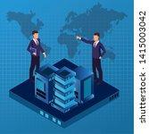 isometric businessmen working... | Shutterstock .eps vector #1415003042