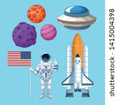 space and astronaut set of... | Shutterstock .eps vector #1415004398